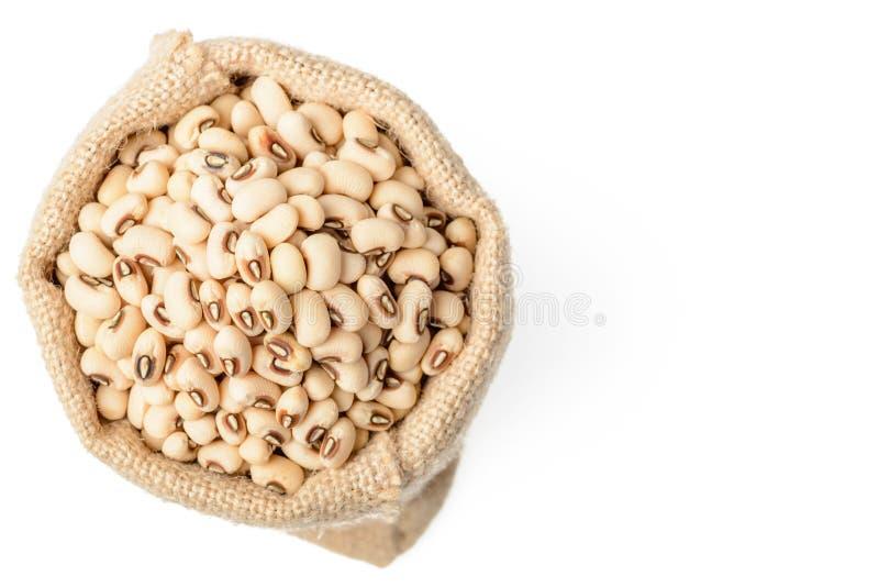 在大袋的未加工的豇豆豆 免版税库存照片