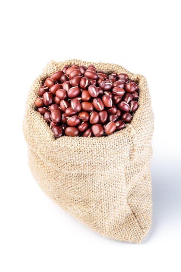 在大袋的红豆 库存照片
