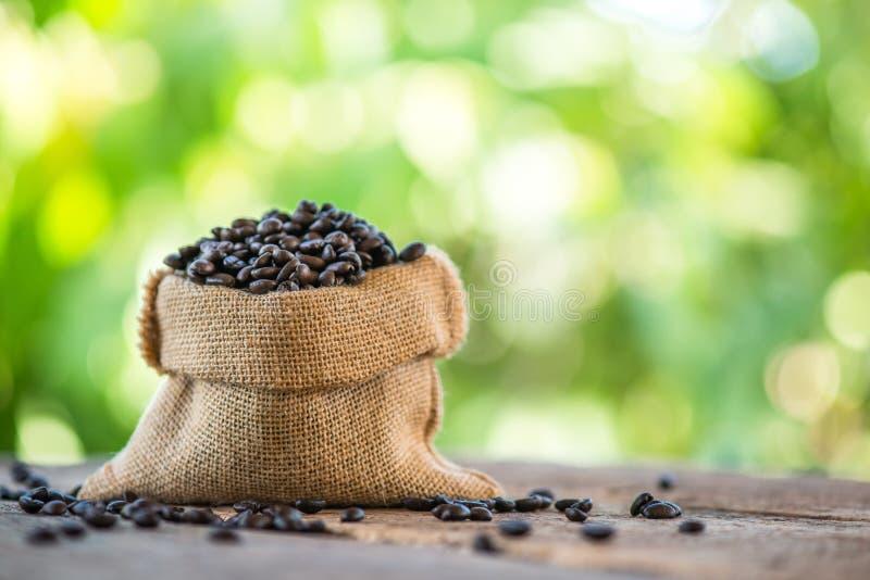 在大袋袋子的咖啡豆 免版税库存照片