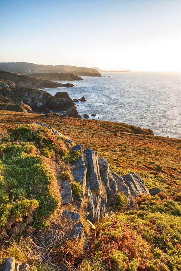 在大西洋海岸的日落在西班牙 免版税库存图片