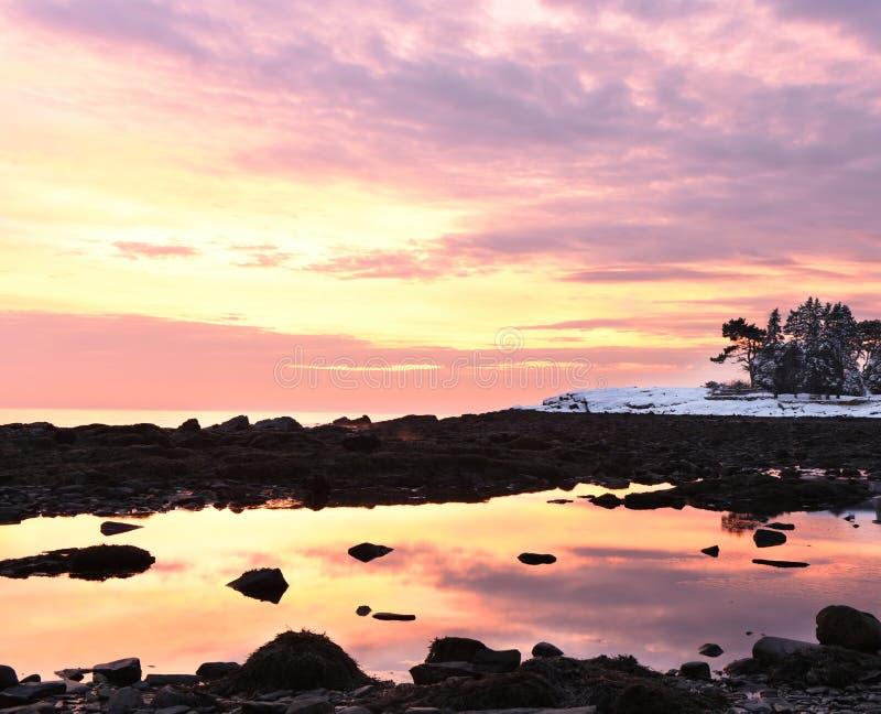 在大西洋的岸的难以置信的五颜六色的日出 石海藻海岸线和一个偏僻的房子在冷杉中在二 库存图片