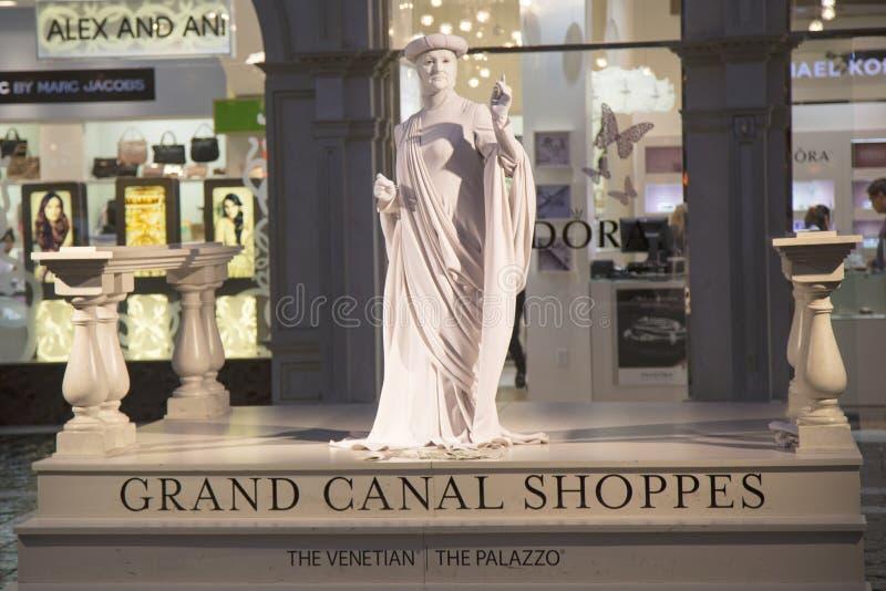 在大运河商店的生存雕象在威尼斯式旅馆和赌博娱乐场里在拉斯维加斯 免版税库存图片