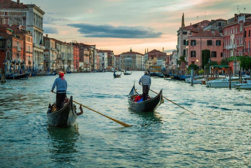 在大运河的日落在威尼斯 免版税库存照片