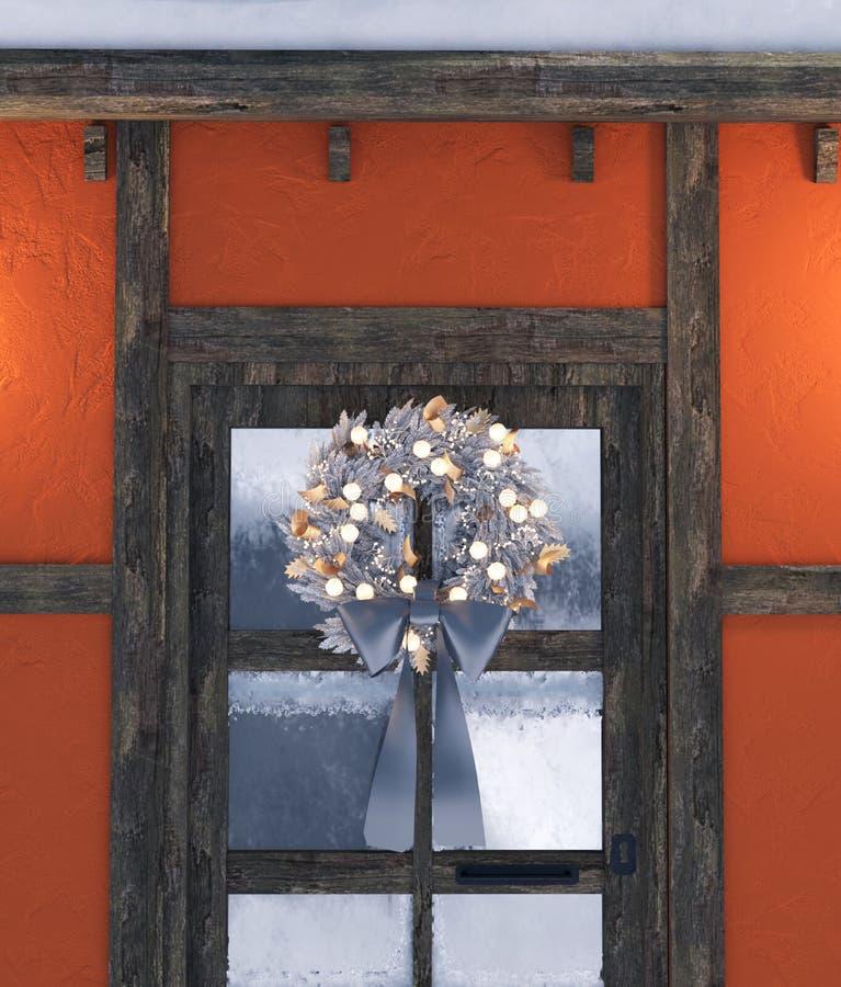 在大门装饰的圣诞节花圈 库存例证
