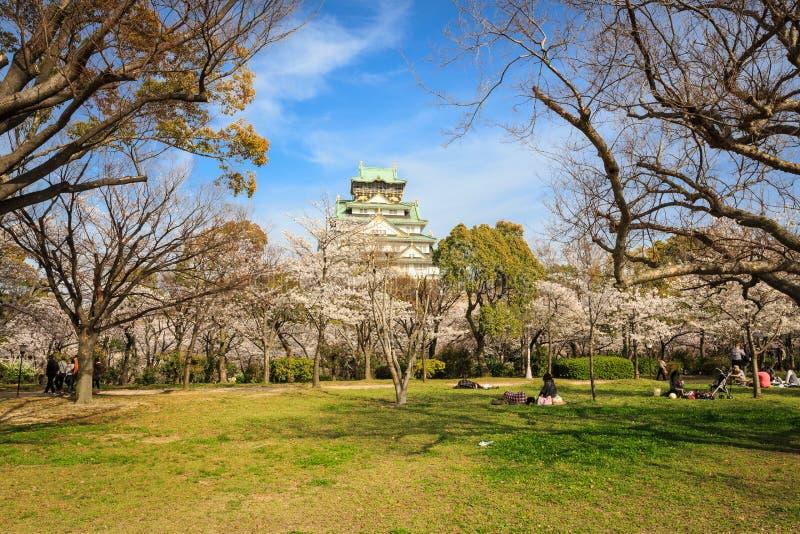 在大阪城堡的春天 免版税库存照片