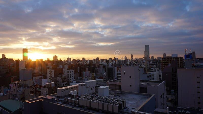 在大阪,日本的日出 库存图片