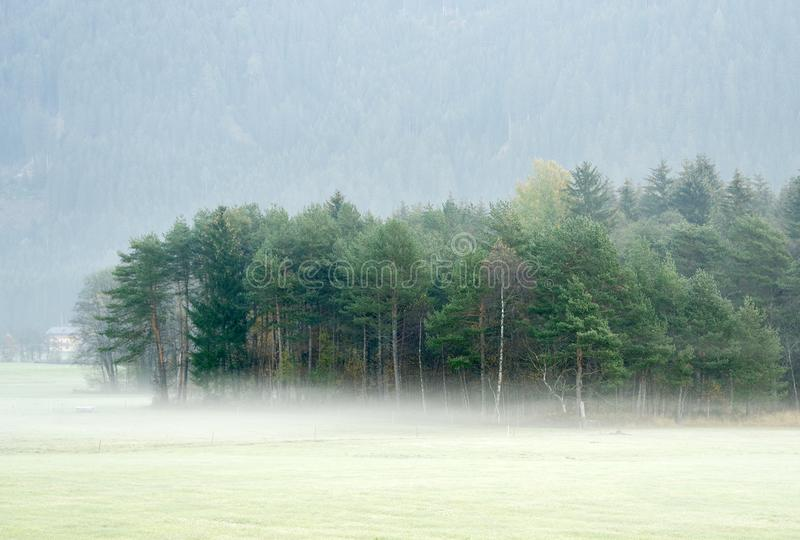 在大雾丢失的梦想的风景,瓦尔di Casies 库存照片