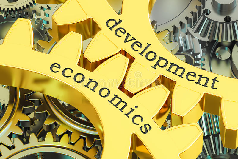 在大齿轮的开发经济学概念, 3D翻译 向量例证