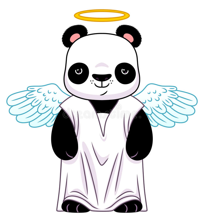 在天使衣服的熊猫 向量例证