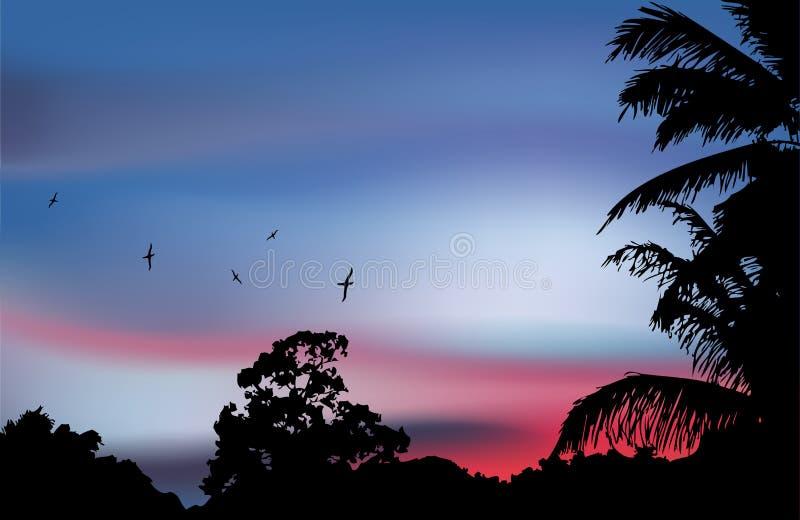 在天堂日落的棕榈树剪影。传染媒介