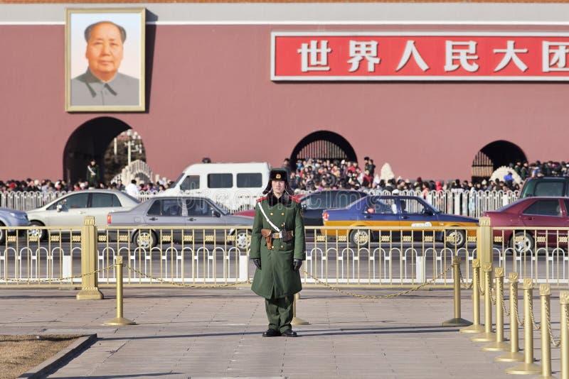 在天安门广场的年轻仪仗队,北京,中国 免版税图库摄影