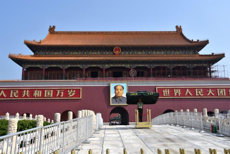 在天安门门,北京,中国的好日子 免版税库存照片