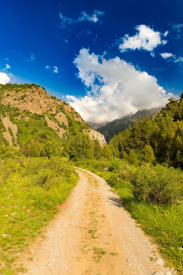 在天山山的一条土路在春天 免版税图库摄影
