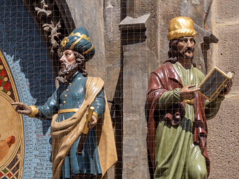 在天文学时钟的天文学家和编年史家形象在布拉格,捷克 免版税库存图片