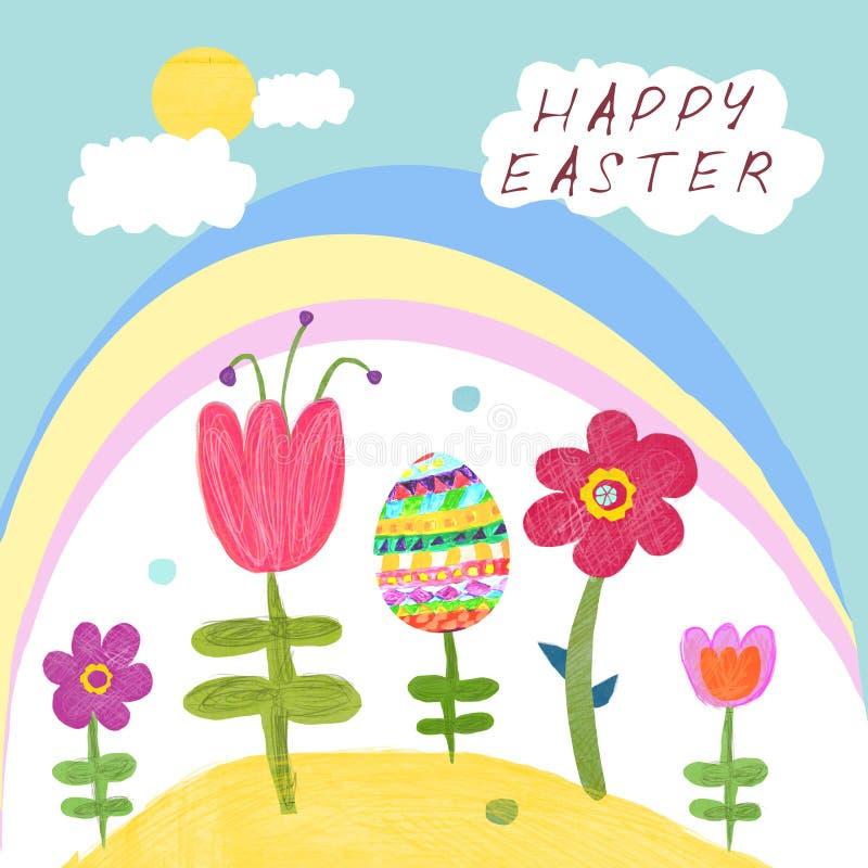 在天真样式复活节快乐的例证 库存例证
