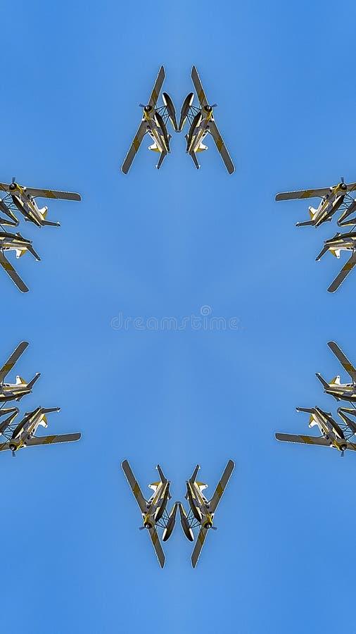 在天空上的垂直的水上飞机在西雅图反射了 免版税图库摄影