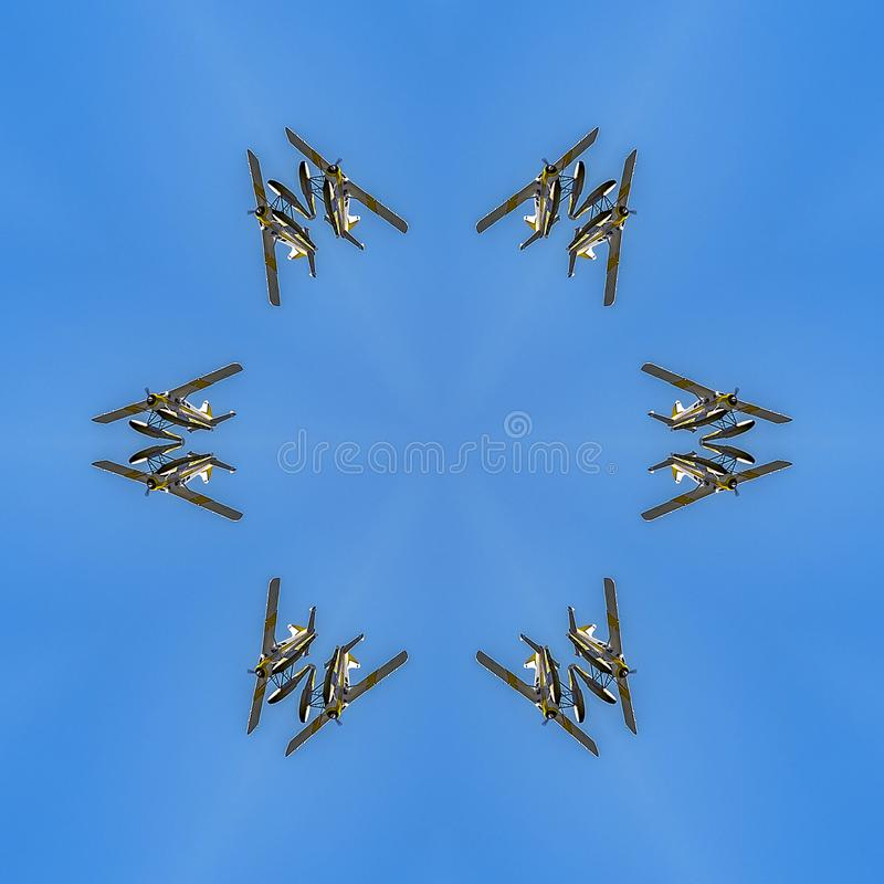 在天空上的水上飞机在西雅图反射了 向量例证