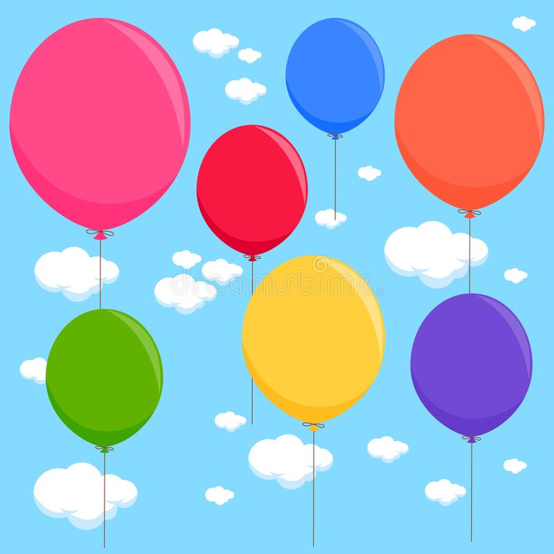 在天空的五颜六色的气球 r 向量例证