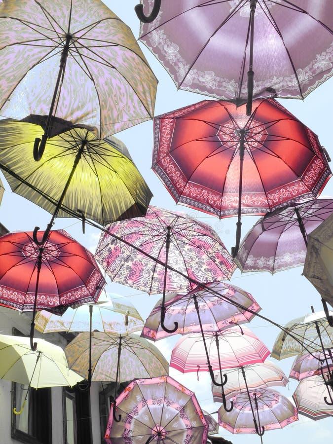 在天空的伞 图库摄影