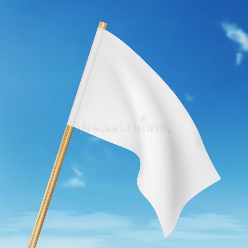 在天空的传染媒介空白的白色飞行旗子 向量例证