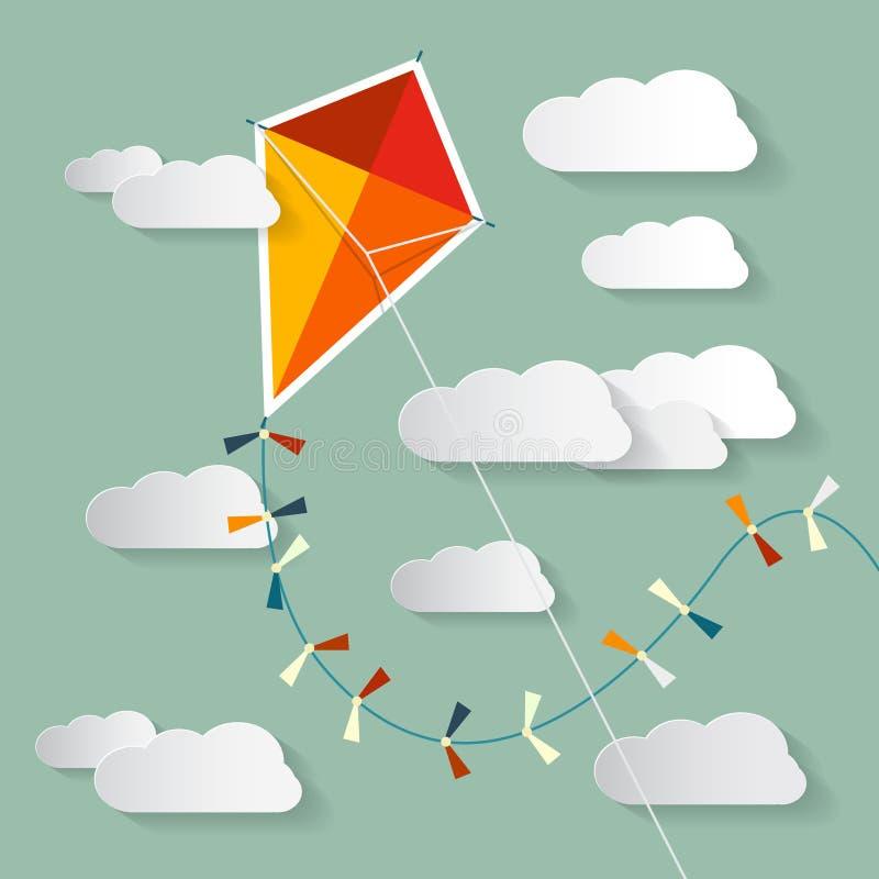 在天空的传染媒介纸风筝 向量例证