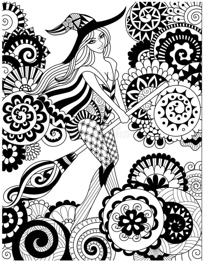 在天空的俏丽的巫婆骑马笤帚与万圣夜卡片、邀请和成人彩图页的花卉云彩 库存例证