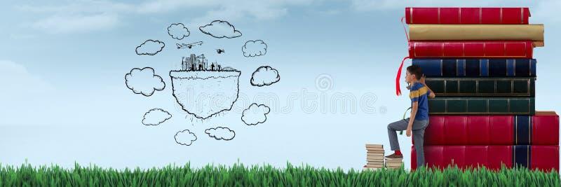 在天空的儿童观看的图画在堆书旁边 免版税库存图片