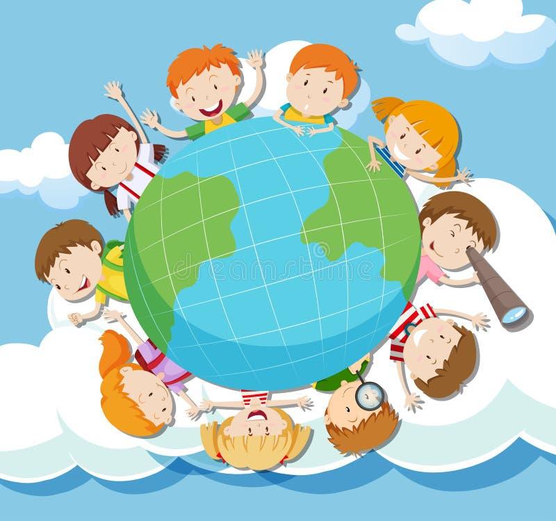 在天空的全球性孩子 皇族释放例证