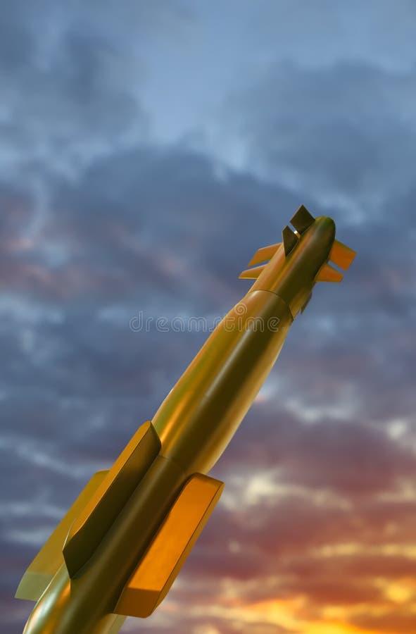 在天空的军用火箭 免版税库存图片