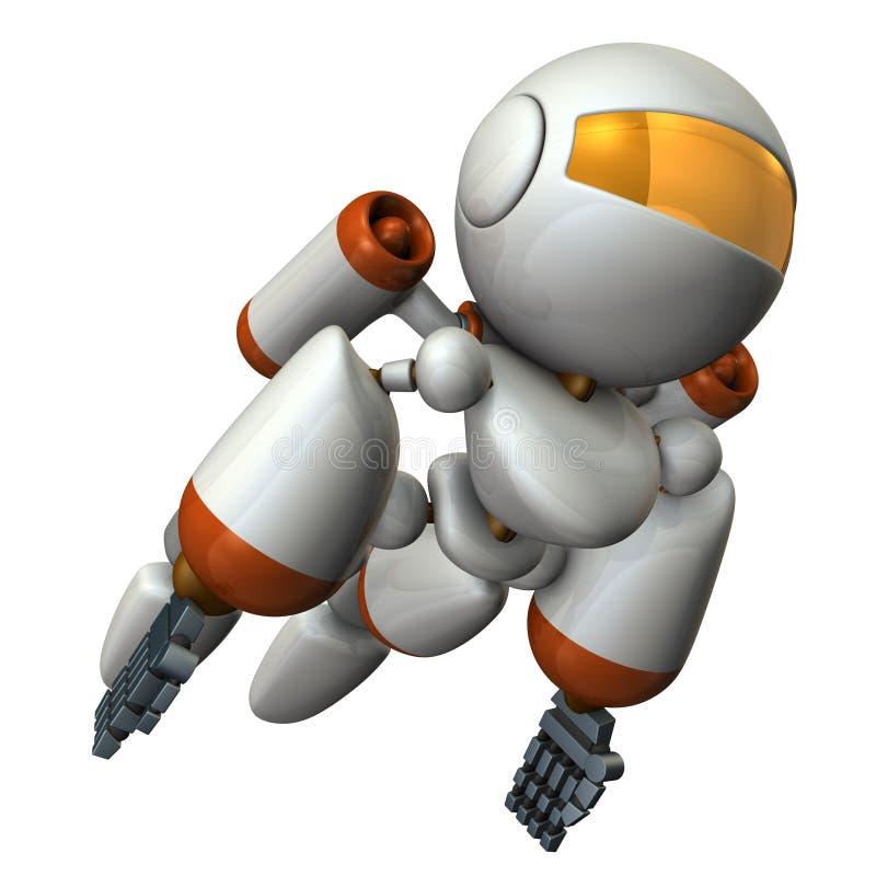 在天空的凉快的机器人飞行 它是强烈勇敢的 皇族释放例证