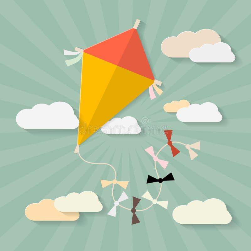在天空的减速火箭的传染媒介纸风筝 向量例证