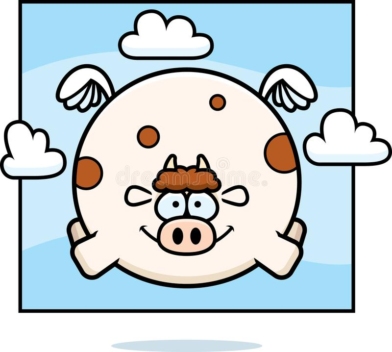 在天空的动画片母牛 皇族释放例证
