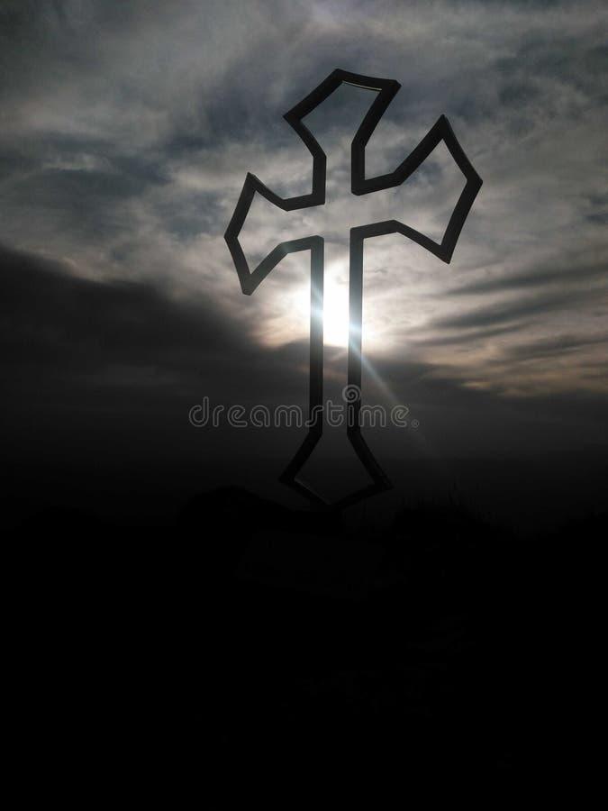 在天空的十字架 库存照片