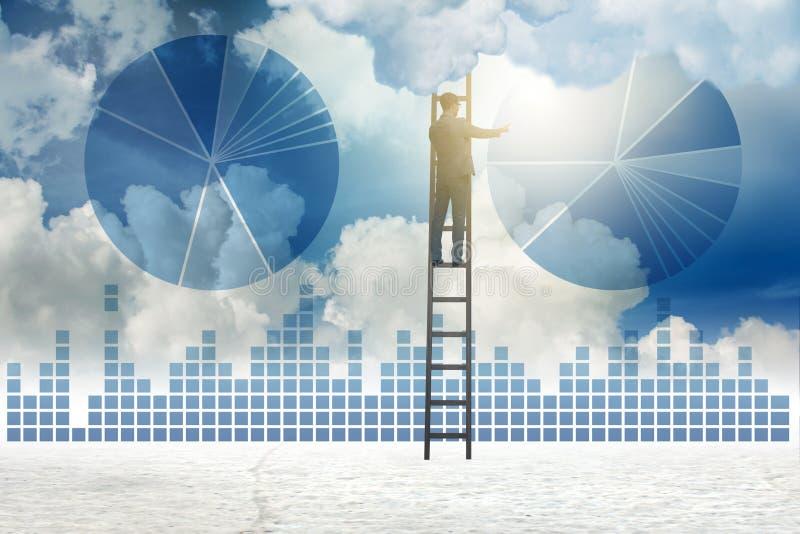 在天空的商人图画图 向量例证