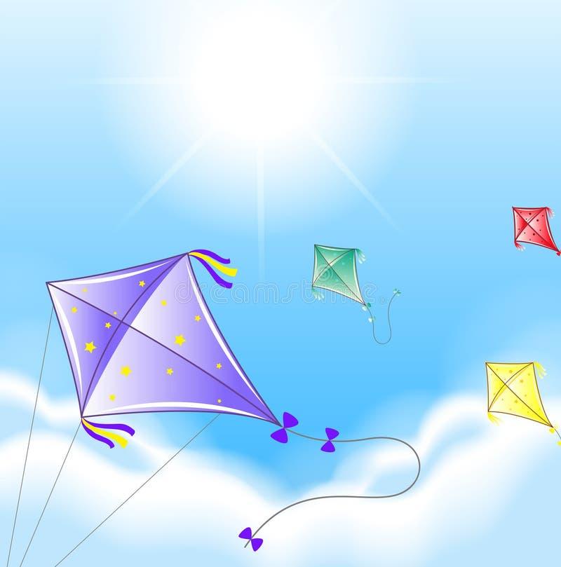 在天空的四只五颜六色的风筝 库存例证