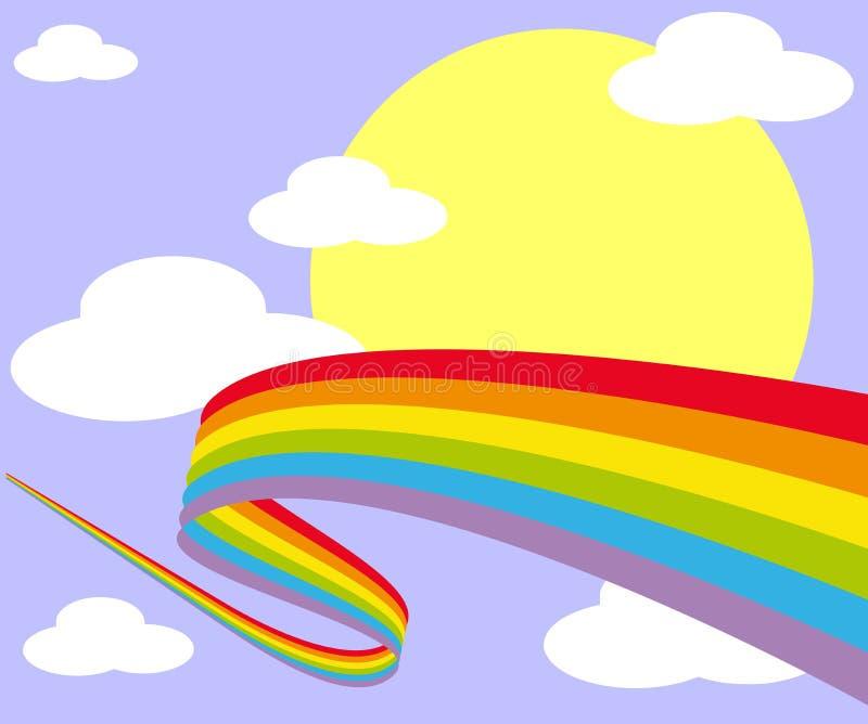在天空的彩虹与太阳和云彩 库存例证