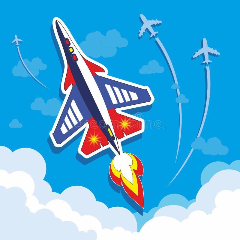 在天空的快飞机 免版税图库摄影