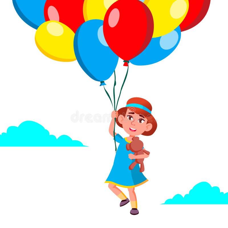 在天空的愉快的儿童女孩飞行在气球传染媒介 例证 皇族释放例证