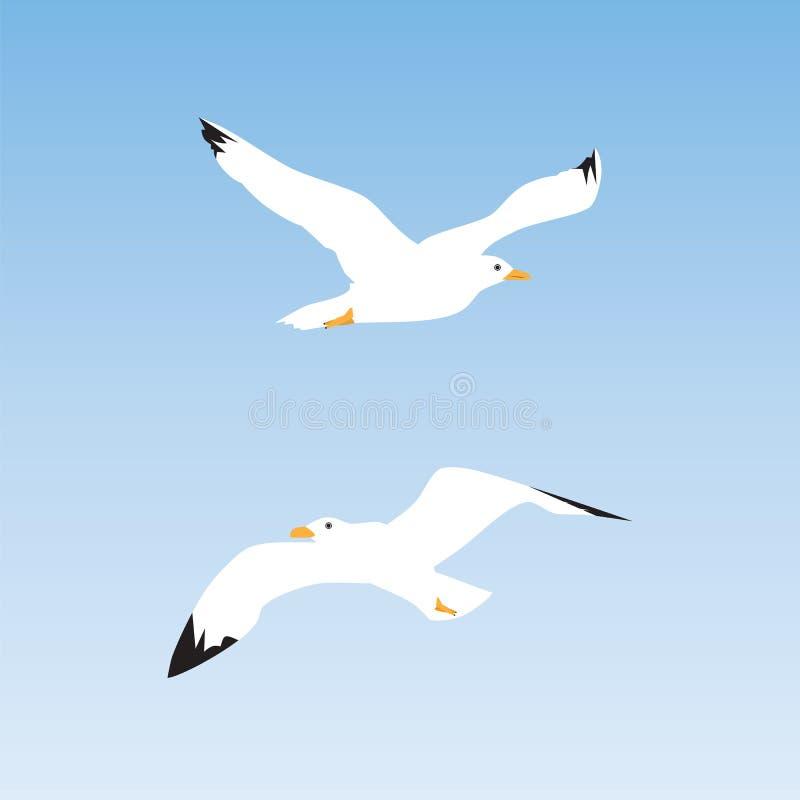 在天空的海鸥 皇族释放例证