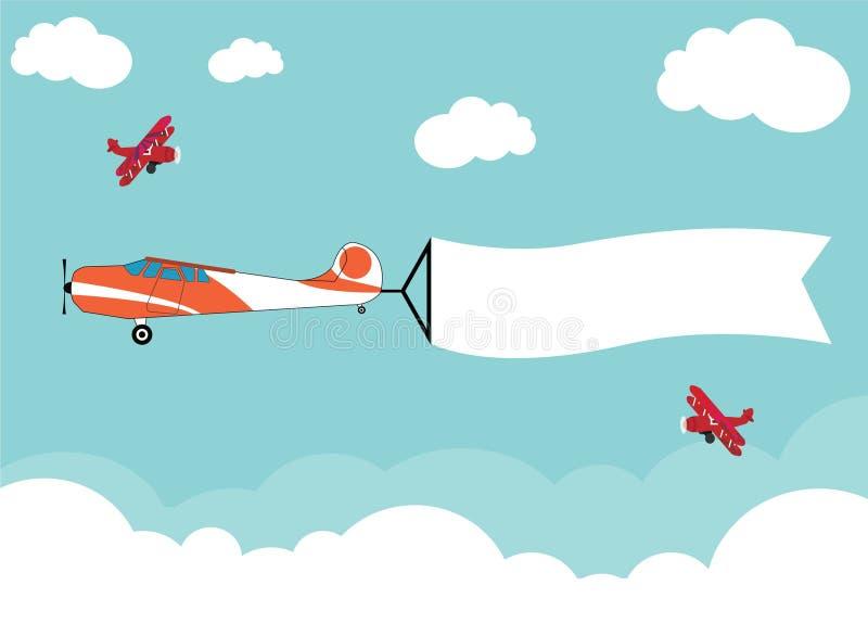 在天空的空中飞机飞行在横幅丝带的云彩 免版税图库摄影