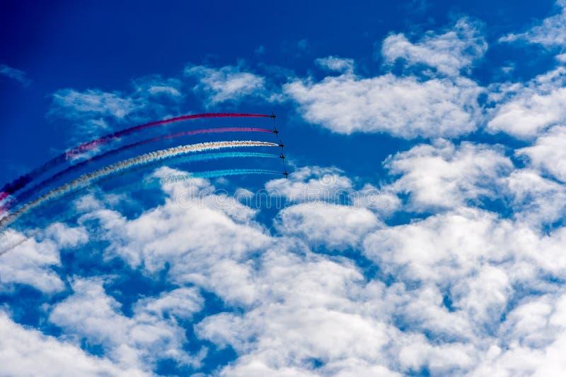 在天空的空气喷气机 库存图片