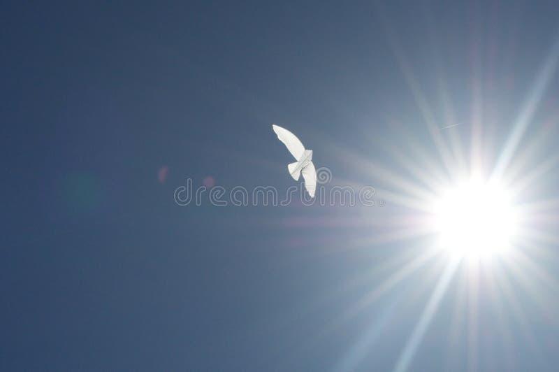 在天空的纸风筝 免版税库存照片
