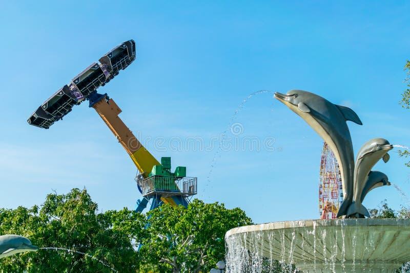 在天空的转动的旋转木马与一个海豚型喷泉在游乐场 免版税库存图片
