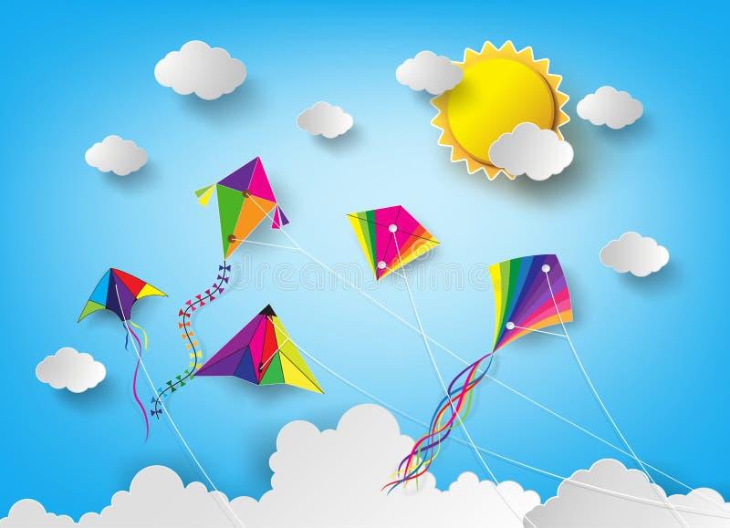 在天空的风筝 库存例证
