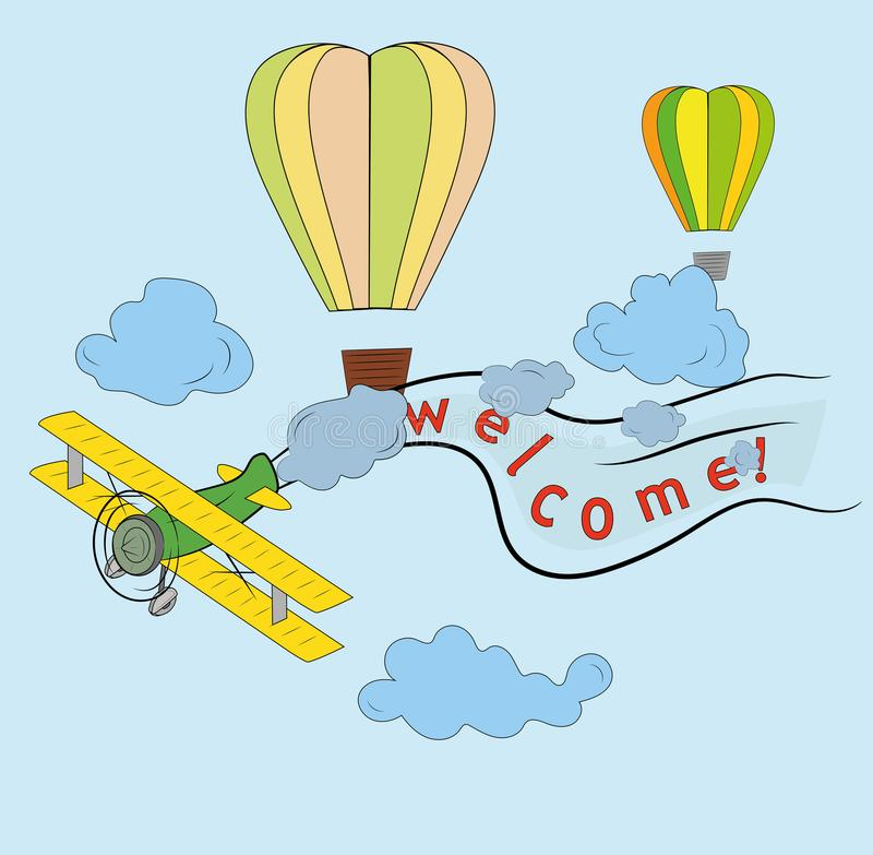 在天空的飞机飞行,气球,词是受欢迎的 旅行天、传染媒介艺术和例证的概念 向量例证