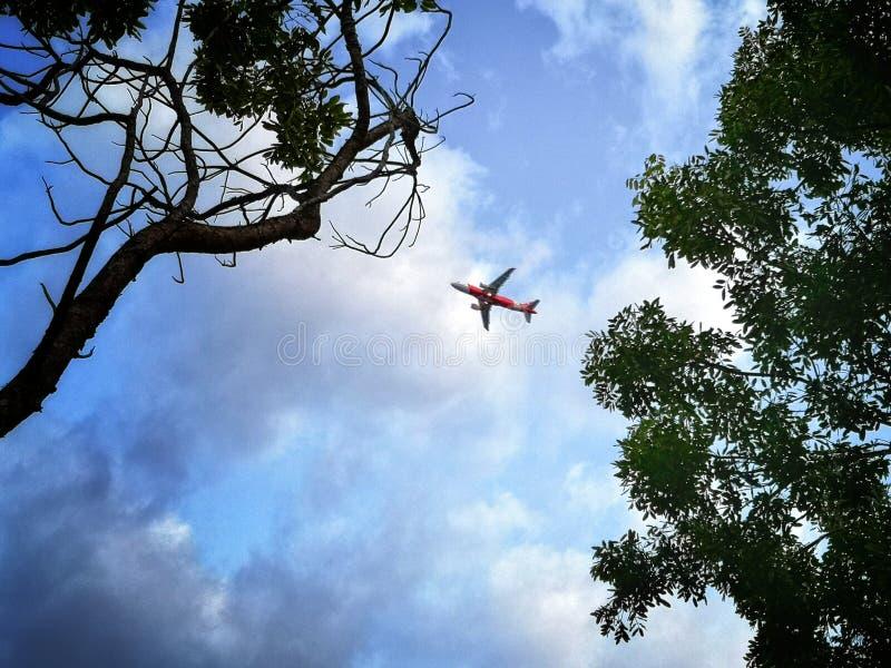 在天空的飞机 免版税库存图片