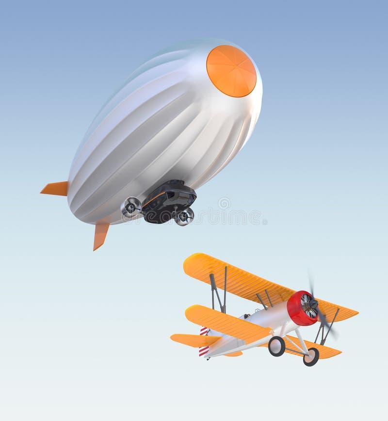 在天空的飞艇和双翼飞机飞行 免版税库存照片