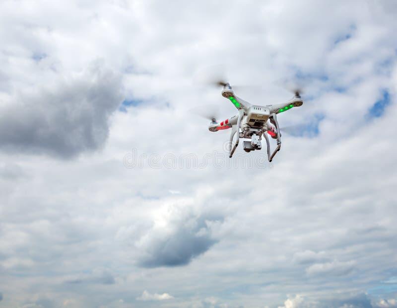 在天空的飞行寄生虫 库存图片