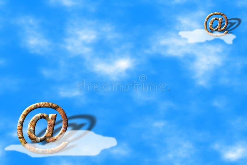 在天空符号的蓝色电子邮件 皇族释放例证