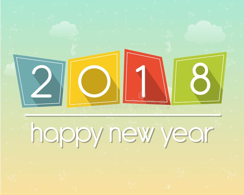 在天空背景的新年好2018 库存例证